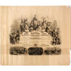 1876 Centennial Expo Stock Certificate  (75240)