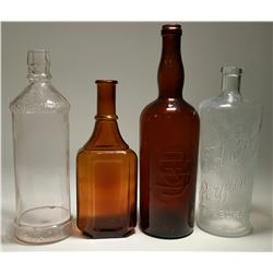 Two Brown & Two Clear Saloon Bottles  (117944)