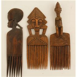 African Wood Combs (3)  (87171)