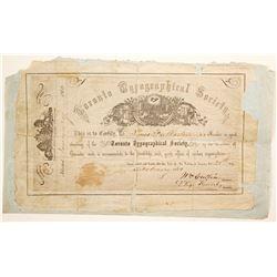 Toronto Typographical Society Membership Certificate  (91035)