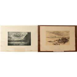Two Alaska Prints: Davidson Glacier & General View of Sitka  (571546)