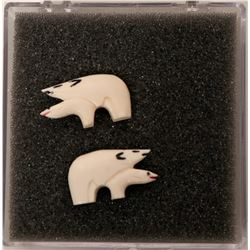 Alaska Walrus Tusk Cuff Links of Polar Bears (slightly erotic!)  (118203)