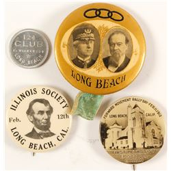 Three Long Beach Pin Backs & a Token  (64160)