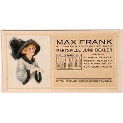 Marysville Junk Dealer's Advertising Blotter With Alice Luella Fidler Art  (118353)