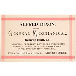 Business Card for Alfred Dixon, Gold Dust Buyer, Michigan Bluff  (56056)