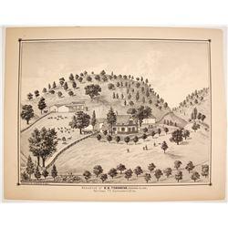 E.B. Townsend Residence, Mormon Island Lithograph  (82443)