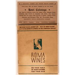 Roma Wines Advertising Booklet Plus Trade Card from Hotel Calistoga  (118321)