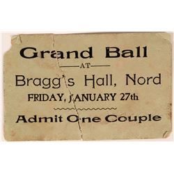 Grand Ball Ticket Bragg's Hall, Nord  (119092)