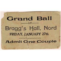 Grand Ball Ticket Bragg's Hall, Nord  (119092)