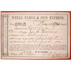 Wells Fargo Placerville Shipping Receipt, 1864  (84847)