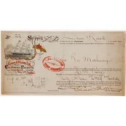 Gold Rush Era Colorful Shipping Receipt  (57467)