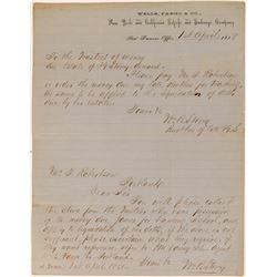 1858 Wells Fargo Letterhead about Estate Liquidation  (57377)