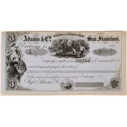 Rare Adams Company Third of Exchange, San Francisco  (119405)