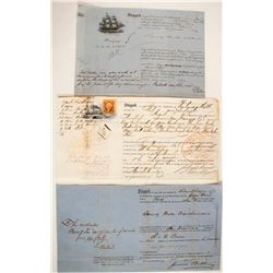 Three Shipping Documents for Ships Headed to San Francisco  (59464)