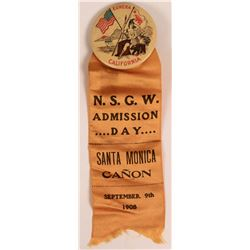 N.S.G.W. Admission Day Pinback with Ribbon  (118119)