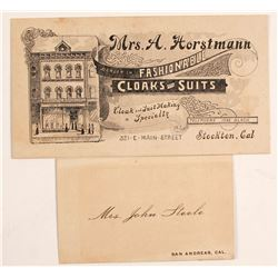 2 Old Calif. Business Cards  (56575)