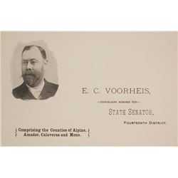 E.C. Voorhies, California State Senator & Mining Man, Pictorial Business Card, c.1890s  (59998)