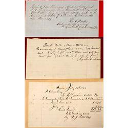 Three Early California Handwritten Receipts  (56062)