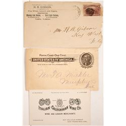 Three Saloon Advertising Pieces: Cover, Business Card, Postcard  (77559)