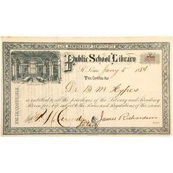St. Louis Public School Library Membership Certificate  (60256)