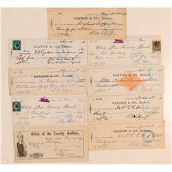 Nine Unique and Rare Eureka, Nevada Checks  (59450)