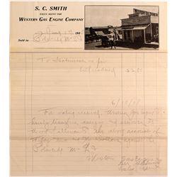 Goldfield, Nevada Photographic Billhead- S.C. Smith/ Western Gas Engine 1908