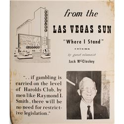 Large Cardboard Broadside Ad for Jack McCloskey talking about Harold's Club  (49728)