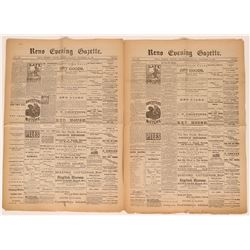 Two 1881 Issues of the Reno Evening Gazette Newspaper  (113257)