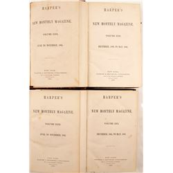 Harper's Magazine - Four Volumes on Nevada/Arizona by J. Ross Browne  (80265)