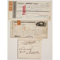 New York 3rd of Exchange plus 1873 Shipping Receipt  (77331)