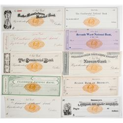 Ten Different RN-F New York Checks  (62147)