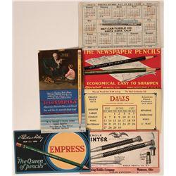 Pens & Pencils Advertisement Blotters (6)  (118326)