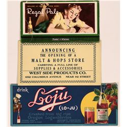 Beer & Soda Advertising Blotters (3)  (118334)