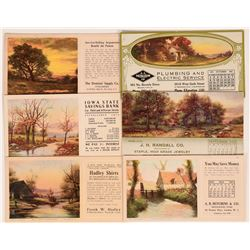 Group of Landscape Art Blotters Including Four By W.M. Sanford, Artist  (118355)