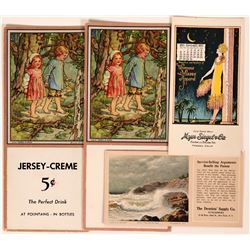 Four Art Blotters Featuring a W.M. Sanford Painting & a Fresno Calendar  (118356)