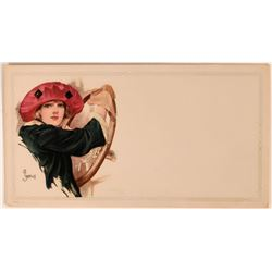 Fancy Art Blotter With Painting of Attractive Woman  (118358)