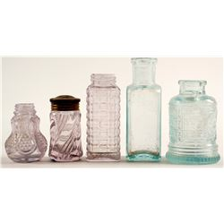 Shoe Polish & salt shakers / 5 pieces.   (78837)