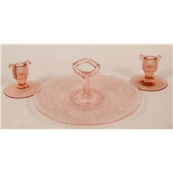 Depression Glass Server & Candlesticks  (117958)