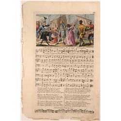 Hand-Colored Sheet of Music, Italian Opera Satire  (113215)