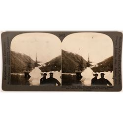 Stereoview photo of the Peary Expedition ships  to the North Pole   (118001)