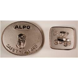 Two Nickel Belt Buckles - Alpo & Oldsmobile  (80207)