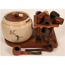 Vintage Pipes and Humidor on Wooden Tray  (117993)