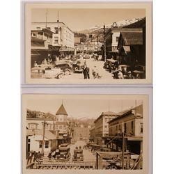 Ketchikan Alaska Real Photo Post Cards, set of two; Dock street and City Banner  (119568)