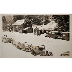 Baxters Hotel, Tahoe, Real Photo Postcard , early 1900s, snow covered mountiain town  (119933)