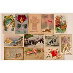 3D Gold Metal Postcards Collection (12)  (111715)