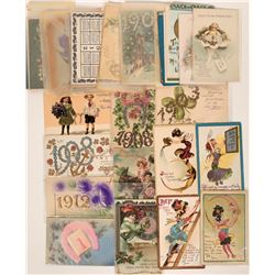 New Year Dated & New Year Postcards Including Tuck Cards (47)  (111740)
