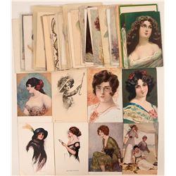 Large Lot of Fancy Women Postcards (52)  (111709)