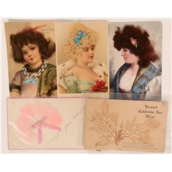 Pretty Ladies Postcards With Raised Hair, Feathers & Moss Postcards (5)  (111739)