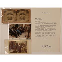 US Presidents Cabinet Card Photo RPC Postcard Autograph  (117311)