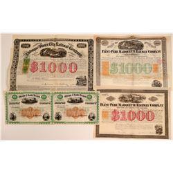 Revenue-Imprinted (RN) Railroad Stock Certificates & Bonds (5)  (106670)